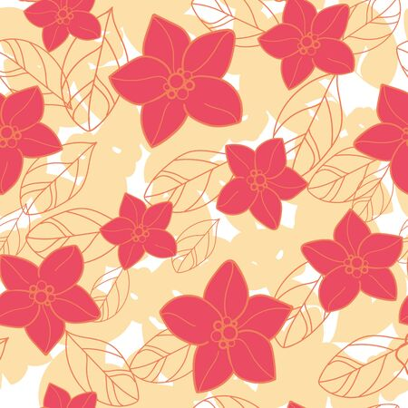 Vector orange blossom orange and red flowers, yellow leaves texture, seamless repeat pattern . Perfect for fabric, scrapbooking, wallpaper projects.