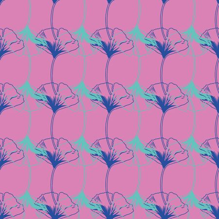 Vector seamless pattern ginko wax with blue and turquoise ginkgo leaves and pink background