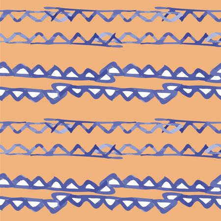Vector seamless pattern ethnic indigo watercolor with white and blue triangles and ocher yellow background.