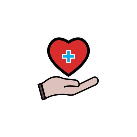 Heart medical and hand symbols. Design template vector Vettoriali