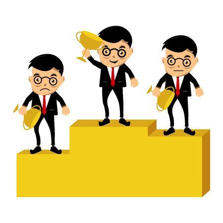 Businessmen winner standing on a podium and holding up winning trophies. Design illustration