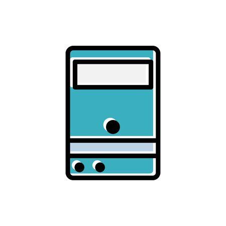 Computer case vector flat icon personal computer desktop tower. technology server. Design template vector
