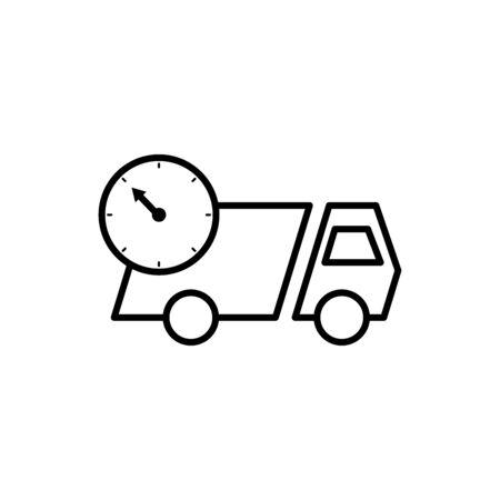 Delivery symbol , truck icon, clock icon. Design template