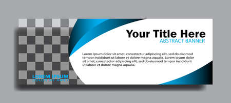 Blue web banners of standard sizes for sale with a place for photos. Design template vector
