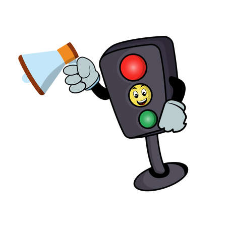 Traffic light character cartoon with megaphone. Design template vector