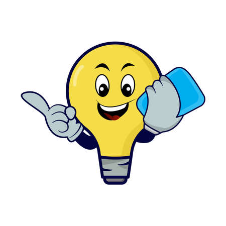 Lamp bulb cartoon character with phone. Design template vector Stock Illustratie