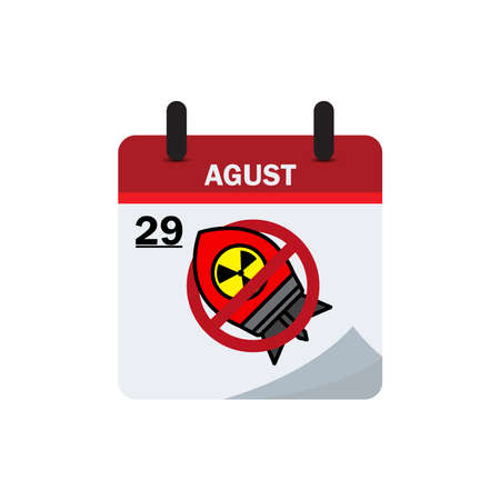 Calendar international day against nuclear testing with a nuclear stop flat icon. Design template vector