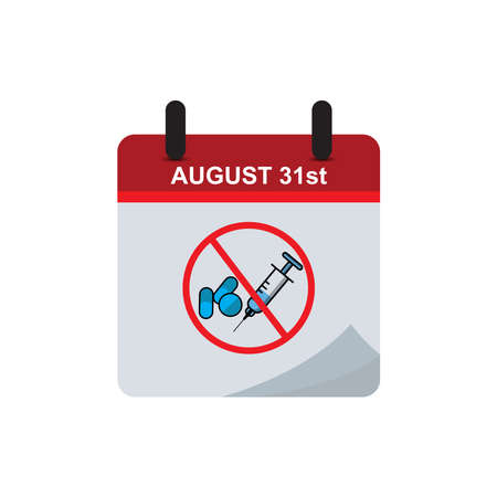 International Overdose Awareness day calendar flat icon with overdose stop icon. Design template vector