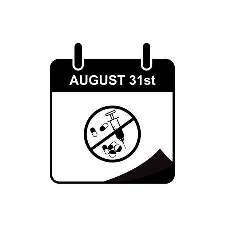 International Overdose Awareness day calendar icon with overdose stop icon. Design template vector 向量圖像