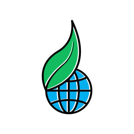 Earth and plant flat icons. Good for protecting ozone. design template vector Stock fotó - 155148221