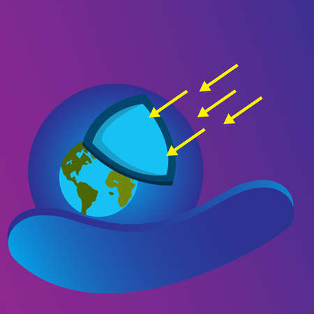 Ozone protection illustration. Flat design earth and shield. Design template vector Stock fotó - 155137628