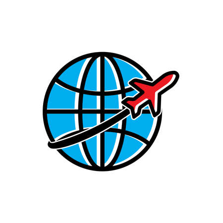Earth and airplane flat icons. tour and travel symbol. Design template vector