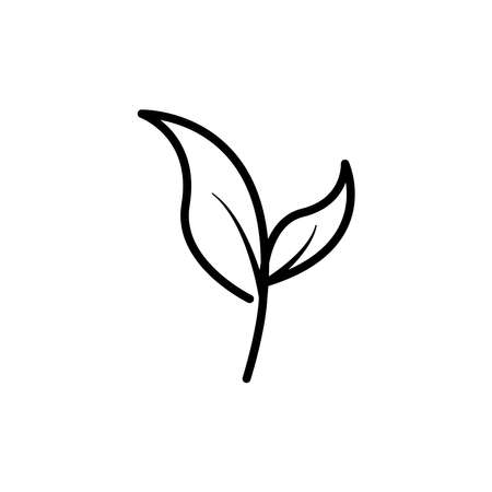 Leaf and vegetarian line icon. Design template vector