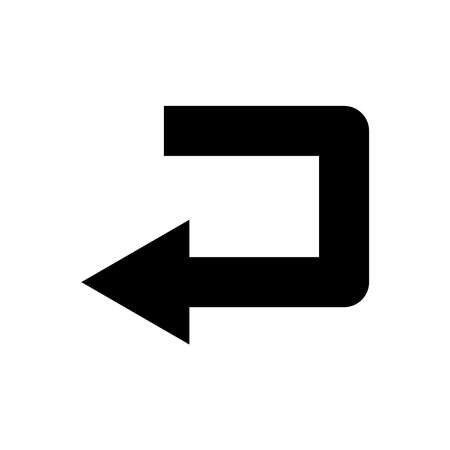 Sharp left turn icon. Design template vector