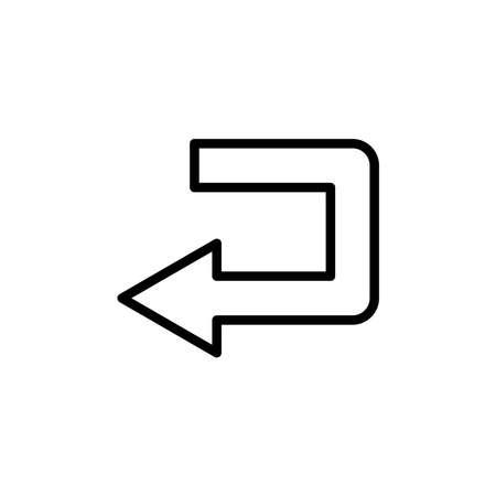 Sharp left turn line icon. Design template vector Illustration