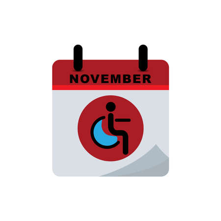 International diabetes day calendar icon with icon of a person sitting in a wheelchair. Design template vector Ilustración de vector
