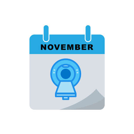 International radiology day calendar flat icon with Magnetic resonance imaging (MRI) icon. Design template vector