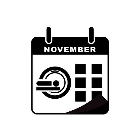 International radiology day calendar icon with Magnetic resonance imaging (MRI) icon. Design template vector