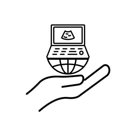 Hand line icon with ultrasound. International radiology day. Design template vector