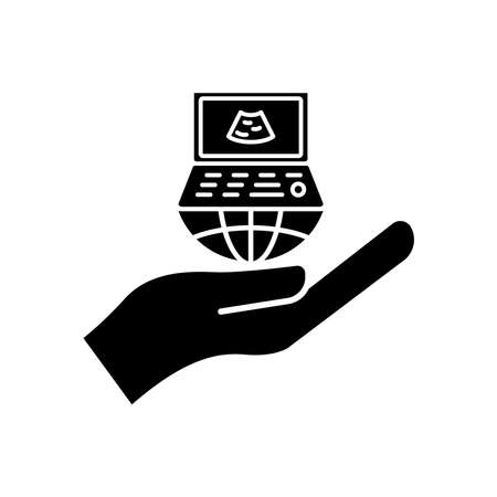Hand icon with ultrasound. International radiology day. Design template vector