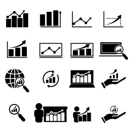 Analyst set icon. Design template vector Ilustración de vector