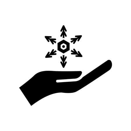 Winter icon. hand icon with snowflakes. simple design editable. design vector illustration