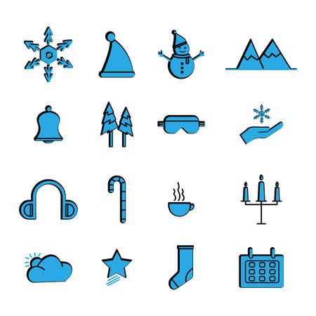 Winter flat icon set. simple design editable. design template vector
