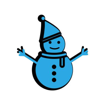 Snowman flat icon. Winter icon. simple design editable. design vector illustration