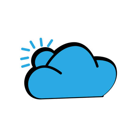 Winter and summer icon. cloud icon with sun. simple design editable. design vector illustration