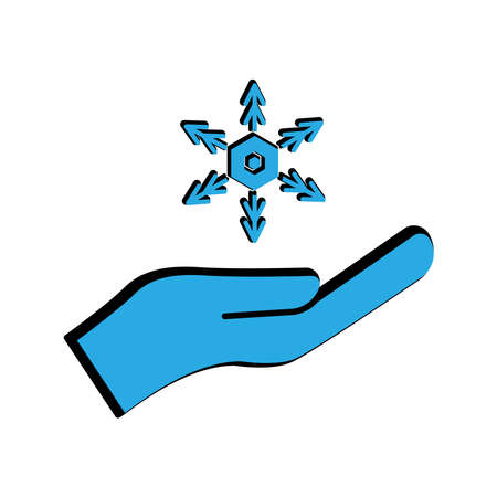 Winter flat icon. hand icon with snowflakes. simple design editable. design vector illustration Illusztráció
