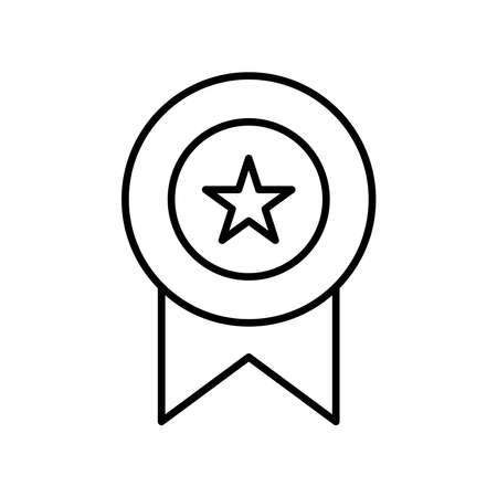 Medal line icon vector on white Illusztráció