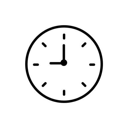 Clock line icon vector on white Illusztráció