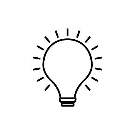 Lightbulb line icon vector on white