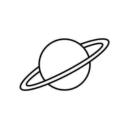 Planet line icon vector on white