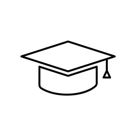 Graduation hat icon vector on white Illusztráció