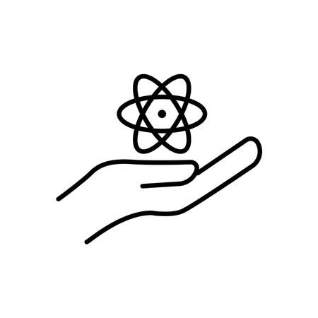Hand icon with atom vector on white Illusztráció