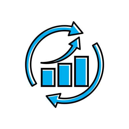 Business analyst chart icon vector on white Illusztráció