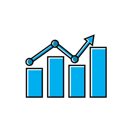 Chart flat icon, arrow go up, bar graph. line style icon. business icon. Design template vector