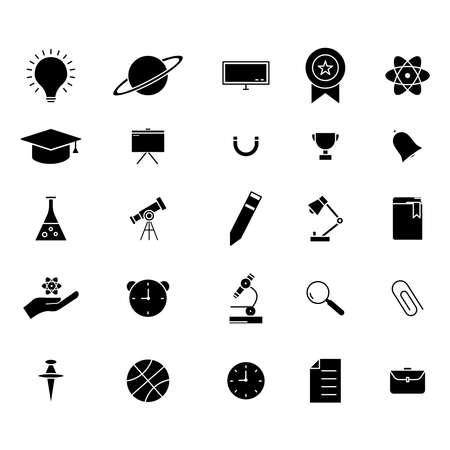 Education glyph icon set vector on white