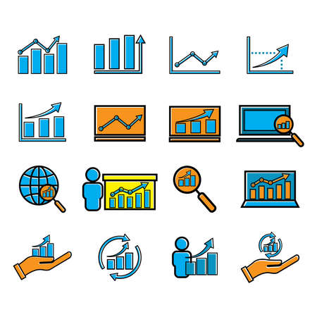 Analyst set flat icon. Business icon. Design template vector