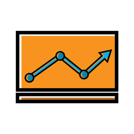Line flat Chart Vector, arrow go up, bar graph. line style icon. business icon. Design template vector