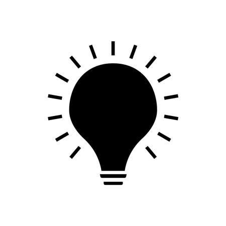 Lightbulb glyph icon vector on white
