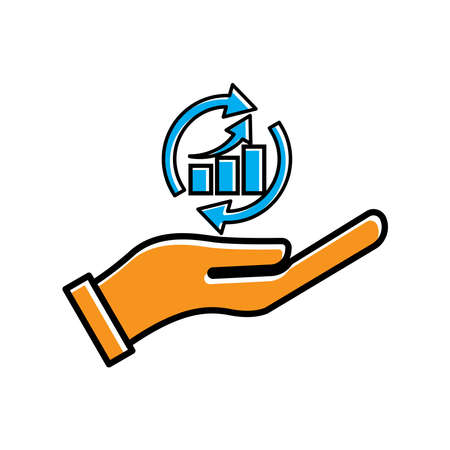 Hand holding chart icon vector on white