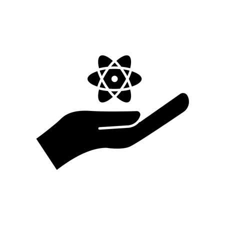 Education glyph symbol. hand icon with atom. simple design editable. design vector illustration