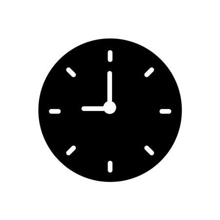 Clock glyph icon vector isolated on white Illusztráció