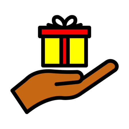 Surprise lineal color icon, gift. hand and gift box icon. simple design editable. Design template vector