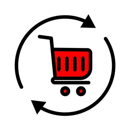Shopping lineal color icon. shopping cart icon simple design editable. Design template vector