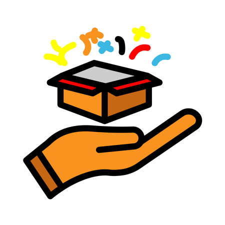 Surprise lineal color icon. hand icon with open gift box. simple design editable. Design template vector