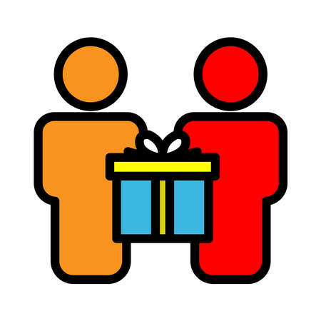 Gift giving lineal color icon. People icon and gift box. simple design editable. Design template vector