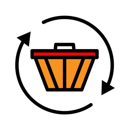 Shopping lineal color icon. shopping cart icon simple design editable. Design template vector 向量圖像